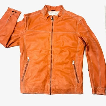 Missani Le Collezioni Men`s Burnt Orange Leather Jacket