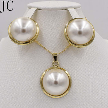 Fashion high quality   Gold color Jewelry Set Italy 750 gold Earrings Necklace pendant  3color Wedding Party set
