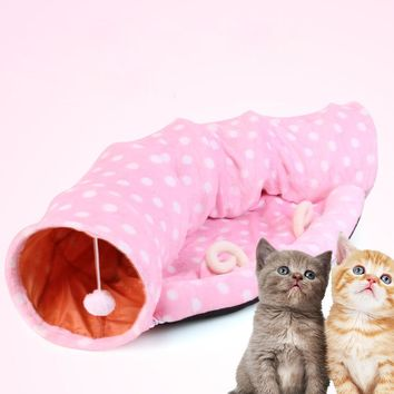 Foldable Cat Kitten Tunnel Play Toy With Sound Winter Warm Fleece Soft Pet Dog Cat Bed House Kennel Nest Cat Mat Cushion