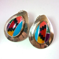 Gemstones Inlay Southwest Sterling Silver Earrings, Multi Color Tear Drop, Post, Vintage