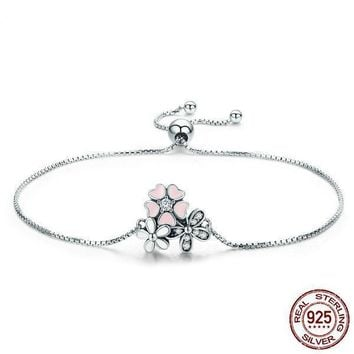 Cherry Daisy Flower Chain Link Women Bracelet