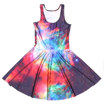 New Summer Hot Women Sexy Skater Dress Psychedelic Space galaxy 3D Print Digital Printing Vestidos Femininos Club Casual Dresses