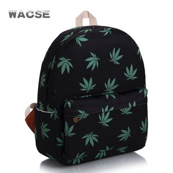 Stylish Leaf Canvas Travel Fashion Casual Backpack = 4887763716