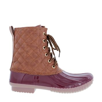 Quilted Lace Up Duck Boot (WINE)