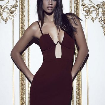 Missguided - Peace + Love Boned Cup Bodycon Dress Burgundy