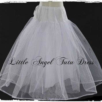 Long Crinoline Underskirt Petticoat Flower Girl Dress 50cm 60cm 70cm 80cm 90cm