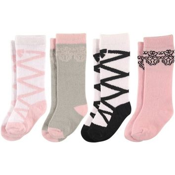 Newborn Baby Girls Knee High Socks 4 Pack - Walmart.com