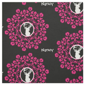 Personalied Floral Stags Head Girly Print Fabric