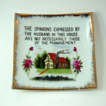 Vintage Kitschy Decorative Square Wall Plate, Square Trivet, Gold Paint Trim, Funny Statement about The Husband in This House