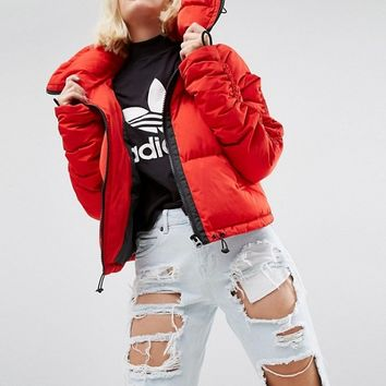 ASOS Puffer Coat with Ruched Arm and Sporty Trims at asos.com