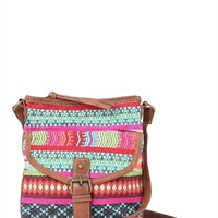 Crossbody Handbag with Bright Tribal Print and Faux Leather Trim