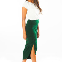 Marina Midi Skirt (Emerald Green)