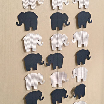 Elephant Paper Garland Navy Blue, Gray Chevron Double Sided Streamers, Baby Shower, Birthday Party, Baby Nursery