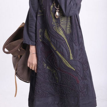 linen Line applique dress