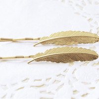 Gold Feather Hair Pins by TheBloomingThread on Etsy