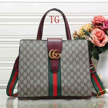 Gucci Women Leather Satchel Handbag Shoulder Bag