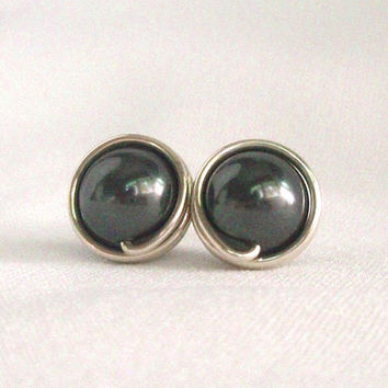 Dark Grey Pearl Stud Earings, Hypoallergenic Earring Stud, Grey Jewelry, Wire Wrapped Earrings Handmade, Swarovski Earrings