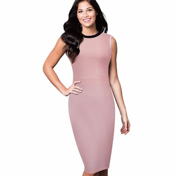 Summer Women Elegant Sheath Fitted Plus Size Simple Design Business Casual Office Formal Pencil Bodycon Dress B38