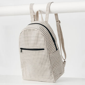 Minimal Zip Backpack Natural Grid