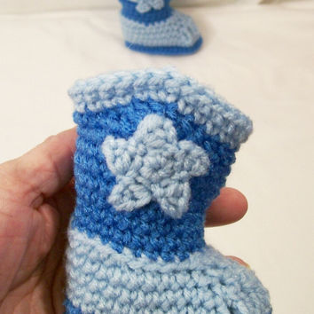 Crochet Western Baby Cowboy Boots, Light blue & Periwinkle blue, Baby Boy Gift, Baby Shower Gift, Handmade Baby Boots, Made in the USA, #217