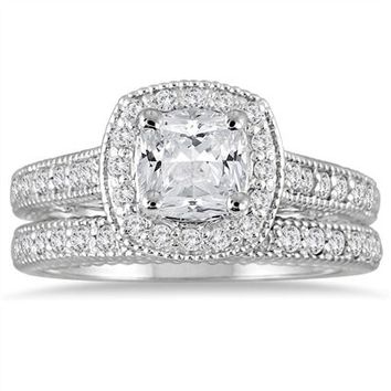1 5/8 Carat Cushion Diamond Halo Antique Bridal Set in 14K White Gold