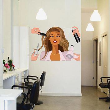 cik835 Full Color Wall decal face girl hair make-up comb Scissors Barber hairdresser