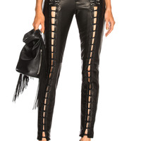 Mugler Leather Lace Up Leggings in Black | FWRD