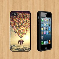 Elephant with baloons copy Custom Case/Cover FOR Apple iPhone 4 /4S BLACK Rubber Case ( Ship From CA )