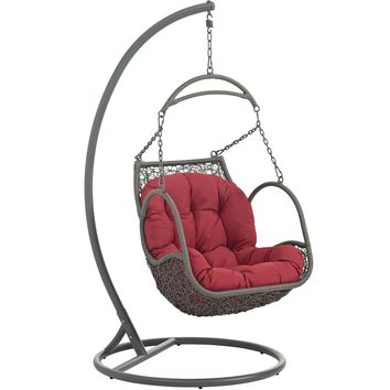 Arbor Outdoor Patio Wood Swing Chair Red EEI-2279-RED-SET