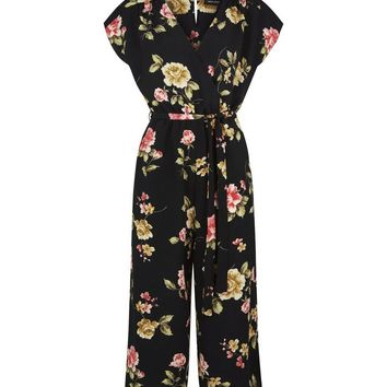 Black Floral Wrap Front Culotte Jumpsuit | New Look