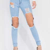 High There Distressed Skinny Jeans