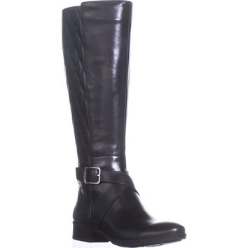 DKNY Mattie Flat Knee-High Boots, Black Leather, 7 US / 37.5 EU