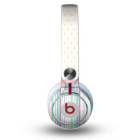 The Polka Dots with Green and Purple Stripes Skin for the Beats by Dre Mixr Headphones