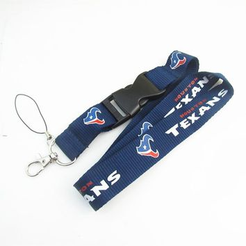 Houston Texans Football Team Keychain Lanyard Neck Strap Key Ring For ID Pass Card Badge Gym Key Mobile Phone USB Holder Lanyard