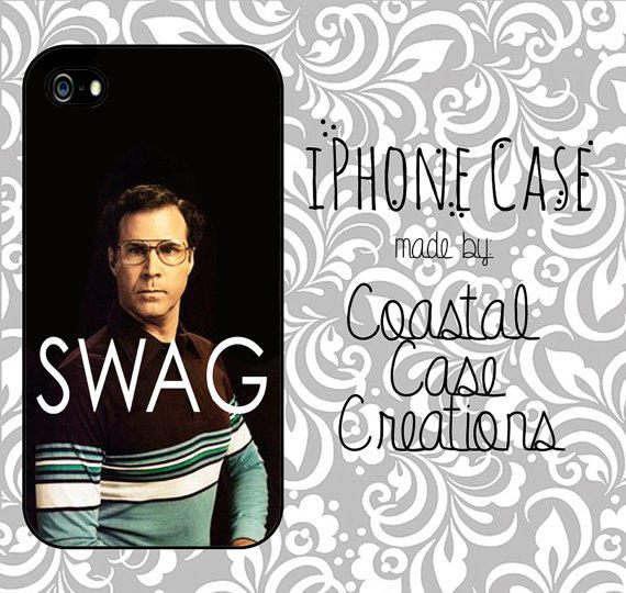 Will Ferrell SWAG Quote Apple iPhone 4 and 5 Protective Hard Plastic or Rubber Phone Case Original Trendy Stylish Design