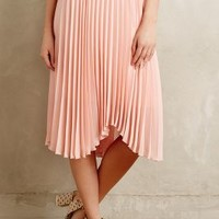 Scalloped Pleats Midi Skirt by Meadow Rue Pink