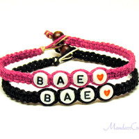Bae Bracelets for Best Friends or Couples, Dark Pink and Black Macrame Hemp Jewelry, Eco-Friendly Gift
