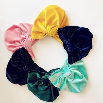 2019 Gold Velvet Indian Hat Bandanas Baby Girls Kids Turban Headband Hair Head Bands Wrap Accessories For Children Hair Headwrap