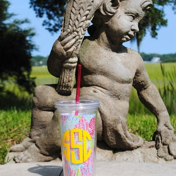Lilly Pulitzer Monogrammed Tumbler with Straw in Let's Cha Cha