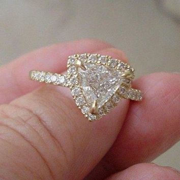 Luxinelle 1 Carat Trillion Cut Halo Engagement Diamond Ring - SI2 D EGL Certified Diamond by Luxinelle® Jewelry