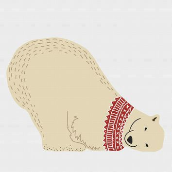 Colorful Contemporary Polar Bear Napping in a Knit Sweater Hand Embroidery Pattern
