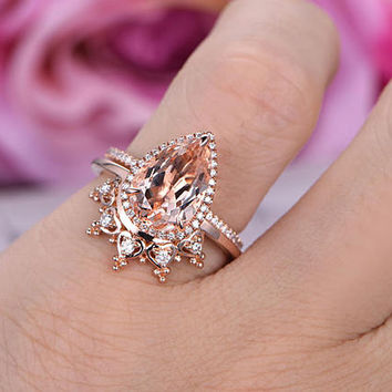 2 pcs 8x12mm Pear Cut Morganite Engagement ring/14k Rose gold/Halo Stackable/Art deco Crown wedding band/Heart shaped Band/Half erternity
