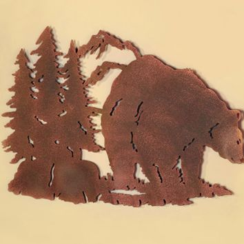 Bear Metal Wall Hanging Art Die Cut Design Primitive Rustic Cabin Man Cave Decor