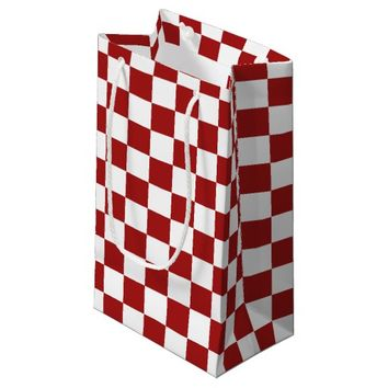 Cranberry Red and White Checkerboard Pattern Small Gift Bag