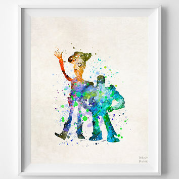 Buzz and Woody Print, Toy Story Watercolor Art, Type 2, Disney Pixar Poster, Dorm Art, Nursery Wall Art, Room Decor, Halloween Decor