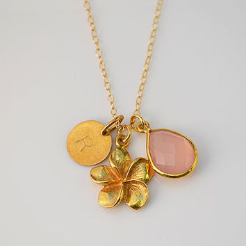 Personalized Plumeria Flower Natural Birthstone 14K gold filled necklace - Vermeil Gold Pendant Charm,  Bezel teardrop, hand stamped initial