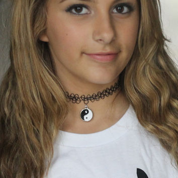 Yin Yang Black Tattoo Choker Necklace