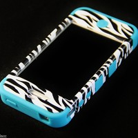 Apple iPhone 4 4S Hard Hybrid Case Silicone Cover Black Zebra / Teal Blue TUFF C