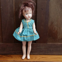 "Vintage Effanbee Suzette Composition Doll 11"" Great Collectible Creepy Decor"