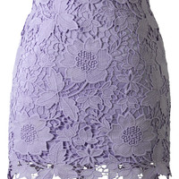 Purple Floral Crochet Skirt Purple